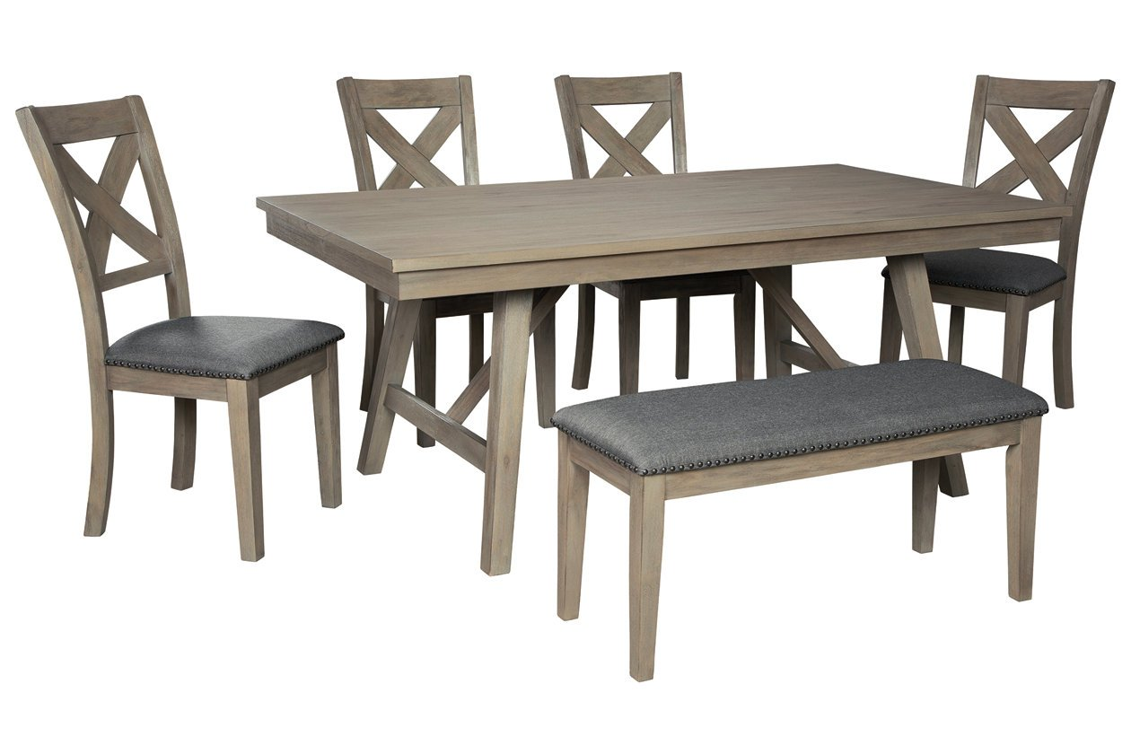 Aldwin Dining Table And 4 Chairs And Bench Set George S Furniture Mattress Napoleon Ohio Furniture Store